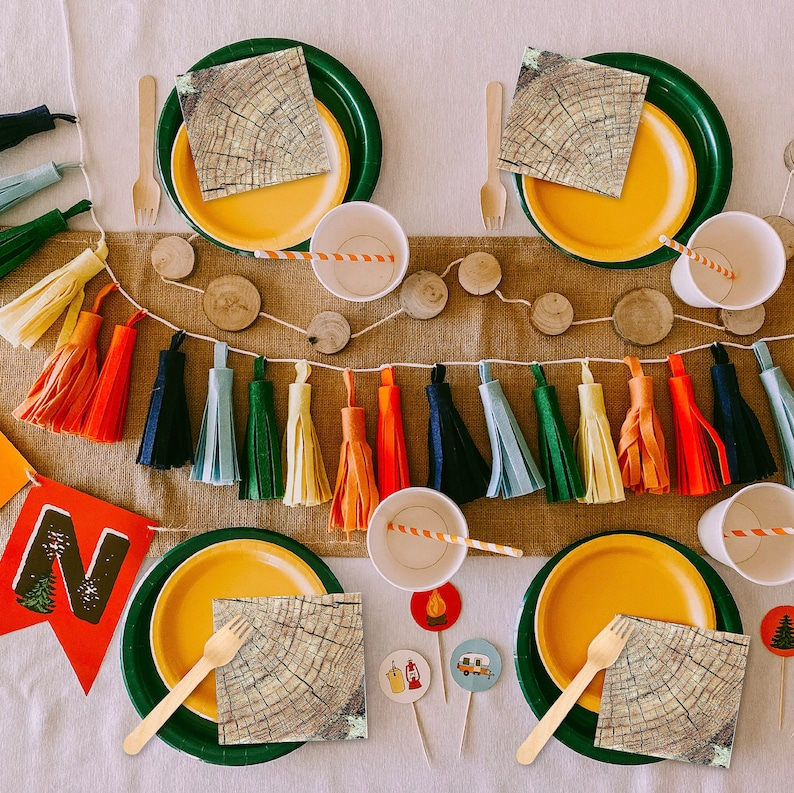 colorful camping party decorations