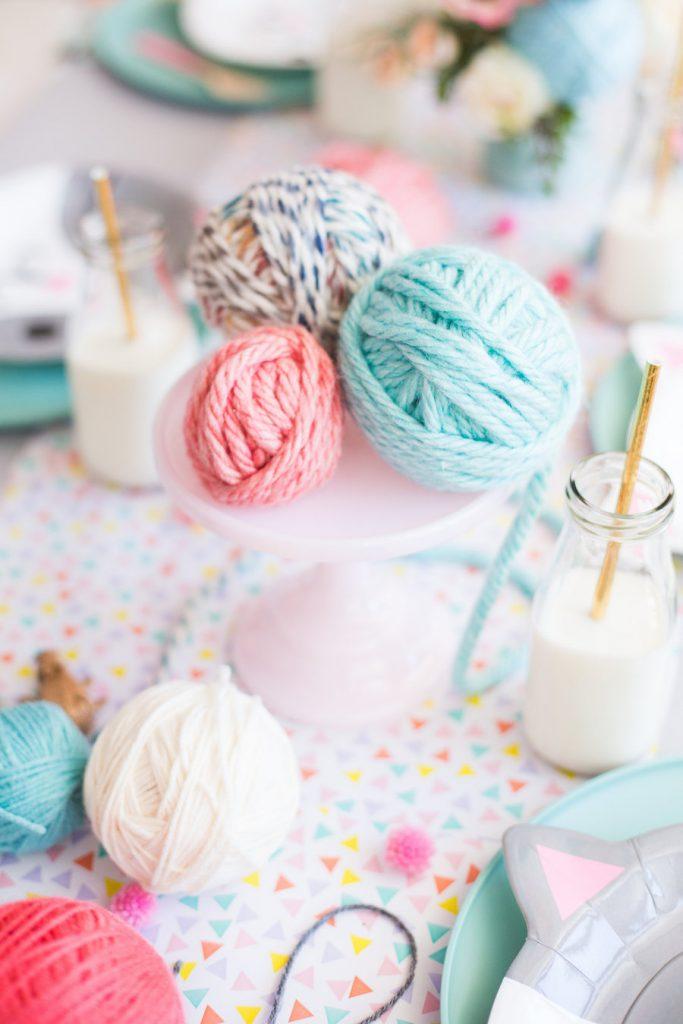 yarn decor for kitty cat theme birthday