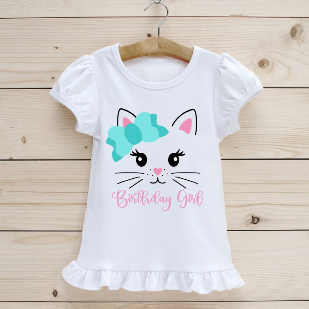 cat birthday girl shirt